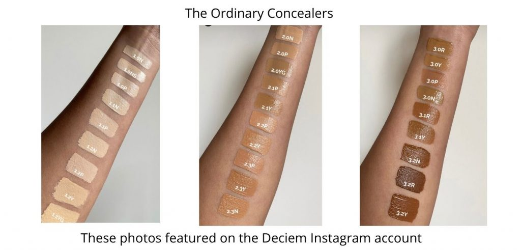 The Ordinary Concealer Swatches